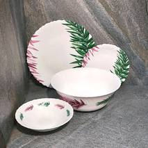 Набір білого посуду з різноколірним листям із склокераміки Luminarc Spring Leaves (Q0388)