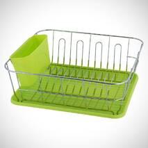 Зелена сушарка для посуду Kamille 37*33*13,5см з піддоном