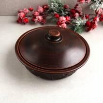 Сковорода из красной глины с крышкой средняя, украинская керамика