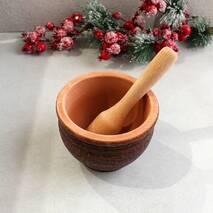Ступка керамическая из красной глины с деревянным пестиком, украинская керамика