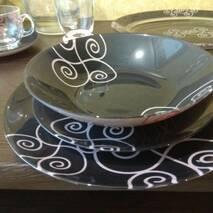 Набір чорного столового посуду 19 предметів з блюдом Luminarc Simply Marah (N1186)