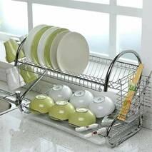 Біла сушарка для посуду Kamille двох'ярусна 55х24, 5х36см з хромованої сталі