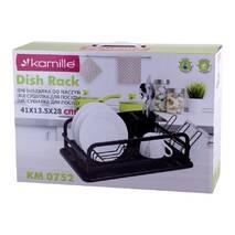 Однорівнева сушарка для посуду Kamille 41х28х13, 5 см з алюмінію з піддоном