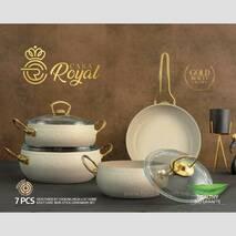 Набір каструль  сковорода, 7 предметів CASA ROYAL GOLD BEAUTY слонова кістка (81-330)