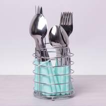 Набір столових приладів 24 ін. з нержавіючої сталі з пластиковими ручками і підставкою Kamille (кольори mix)