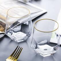 Набор низких стаканов с гранями и золотой каймой Diamond HLS 350 мл 2 шт