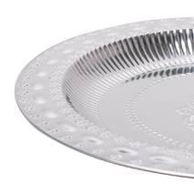 Глубокий круглый поднос из никелированной стали 34.5*3 см Лоза Kamille
