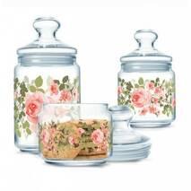 Набір банок для сипких продуктів з рожевими піонами 3 предмети Luminarc Jar Lupin (P2312)