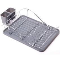 Сіра сушарка для посуду Kamille 52х32х13см з піддоном