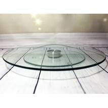 Блюдо-тортовница скляна, що обертається, на ніжці HLS, що крутиться, 25 см (6840)