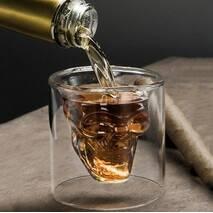 Набор стопок с двойными стенками Череп для алкогольных напитков 80 мл 2 шт (6735)