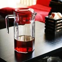 Кувшин стеклянный граненный с красной крышкой Pasabahce Кошем 1,5 л (43414)