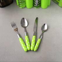 Набір столових приладів 24 ін. з нержавіючої сталі з пластиковими ручками Kamille (кольори mix)