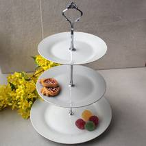 Фруктовница фарфоровая 3-х ярусная HLS (HR1583), этажерка для десертов