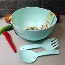 Велика пластикова миска для салату з салатними приладами 5,5 л