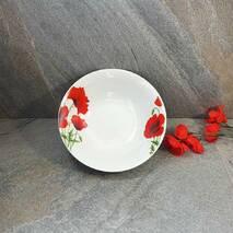 Салатниця кругла фарфорова з червоними маками 800 мл (4332)