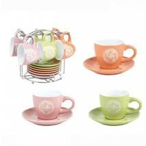 Набір різноколірних кавових чашок з блюдцями на підставці HLS 90 мл 6 шт