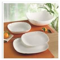 Набор белых квадратных тарелок из стеклокерамики Luminarc Lotusia 19 предметов (H1792)