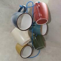 Чайный керамический сервиз на стойке c разноцветными чашками HLS 6шт*240 мл (2840)