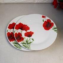 """Тарілка обідня плоска з червоними маками 20.5 см 8"""" (4336)"""