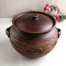 Большой гончарный супник с ручками из красной глины 5 л, украинская керамика (7)