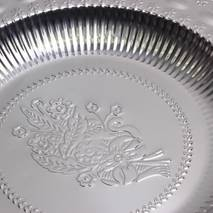 Глубокий круглый поднос из никелированной стали 30 см Лоза Kamille