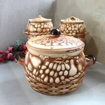 Большой керамический набор горшочков для духовки из красной глины