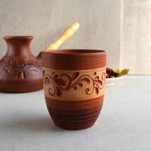 Высокий керамический стакан из красной глины 300 мл, украинская керамика