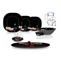 Сервіз чорний столовий з квадратними тарілками Luminarc Carine ANGELIQUE 45 пр (N8124)