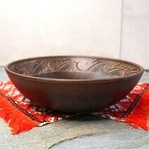 Макитра малая с резкой из красной глины 25 см 1.4л, украинский производитель