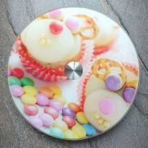Блюдо-тортовница скляна, що обертається, на ніжці, що крутиться, Камінчики HLS 25 см (6840//2)
