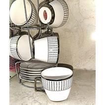 """Набор кавовий з позолотою HLS """"Точки"""" з 6 чашок і блюдець 80 мл (3447)"""