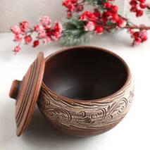 Чугунок из красной глины 1.5 л, украинская керамика (46)