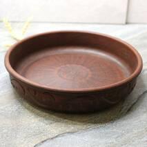 Блинница резная из красной глины 25 см