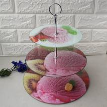 Триярусна тортовница-этажерка для десертів HLS 30*25*20 см (6853)