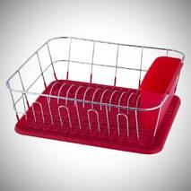 Червона сушарка для посуду Kamille 37*33*13,5см з піддоном