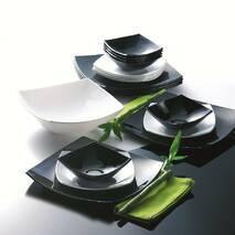 Черно/белый квадратный набор тарелок Luminarc (Люминарк) QUADRATO 19 предметов (C5239)
