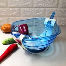 Пластикова миска для салату з салатними приладами 4 л
