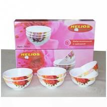 Набір салатників із склокераміки з квітковим декором HLS 6 шт (7412)