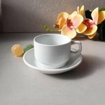 Чашка кавова біла з блюдцем HLS 90 мл (HR1302)