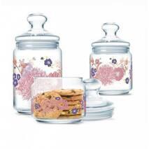 Набір банок для сипких продуктів з рожевим декором 3 предмети Luminarc Jar Alys (P2915)