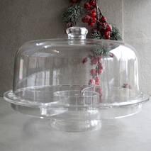 Блюдо-трансформер для торта на ніжці з кришкою-куполом HLS 3в1