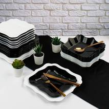 Столовый черно-белый сервиз Luminarc Authentic Black&White 19 пред (Е6195)