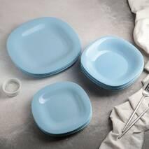 Набор голубой столовой посуды Luminarc Carine Light Blue 18 предметов (P7629)