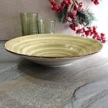 Тарелка круглая зелёная для пасты глубокая Kutahya Porselen Corendon 270 мм (GR3127)