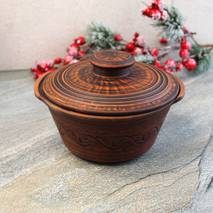 Гончарная супница из красной глины 1,2 л резная, украинская керамика