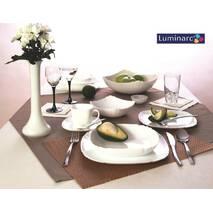 Классический белый квадратный столовый сервиз Luminarc Lotusia 30 пред Н3902
