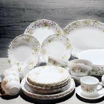 Столовый сервиз большой из стеклокерамики с цветами Arcopal Vaea Pink 38 предметов (N5118)