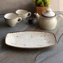 Прямоугольная тарелка из фарфора Kutahya Porselen Atlantis190х114 мм (CR3419)