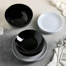 Столовый сервиз серо-чёрный Luminarc Diwali Black&Granit 19 предметов (P4358)